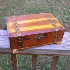 1950s Vintage Cedar Jewelry or Trinket Box by VictorianWardrobe