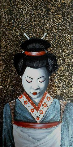 Geisha Painting...I am giving away FREE copies of my book 'Creative Expression' (inspirational teachings coupled with my art) now at www.cherieroedirksen.com