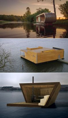 What's better than rejuvenating your soul floating on water, in a sauna. Have a look at these 12 floating saunas perfect for relaxation. Floating Architecture, Pavilion Architecture, Concept Architecture, Portable Sauna, Natural Swimming Ponds, Unusual Hotels, Outdoor Sauna, Sauna Design, Floating Homes