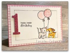 1st Birthday Card using LIttle Cuties created by Leonie Schroder Independent Stampin' Up! Demonstrator Australia