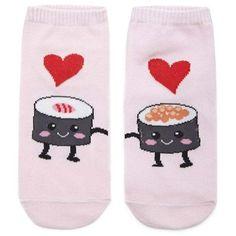 Forever21 Sushi Love Ankle Socks ($1.90) via Polyvore featuring intimates, hosiery, socks, forever 21 socks, short socks, tennis socks, forever 21 y cotton ankle socks