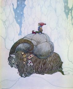 John Bauer, The Christmas Goat. Back in the days the Swedish Santa, the Yule Gnome came by goat. Later on he used a horse instead and now days, because of Disney he have reindeers.