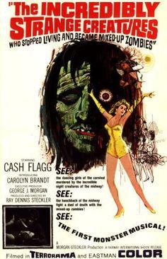"""Extrañas Criaturas, de Ray Dennis Steckler (1964) para Noche de lobos. Aunque el título en inglés sea tan largo y explícito (""""The incredibly strange creatures who stoped living became mixed-up zombies""""), la traducción al español (""""Extrañas Criaturas"""") dejó a aquellos que no habían visto la película con la incógnita del contenido."""