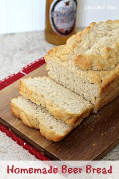 Homemade Beer Bread ~ 3 cups self-rising flour, 2 tablespoons sugar, 1 teaspoon sea salt, 12oz. bottle/can Beer, 1/4 cup softened butter. Mix all dry ingred. Then add Beer. Let set for about 10 min. Grease 4 mini loaf tins. Pour equally in tins. AF for 10 min. Take out & spread butter on top of loaves. Let cool for 10 min. & release from tins. Leftovers make great toast.