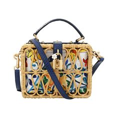 Dolce & Gabbana  Rattan Maiolica Print Box Bag ($4,995) ❤ liked on Polyvore featuring bags, handbags, shoulder bags, dolce gabbana handbags, white box clutch, top handle handbags, leather shoulder handbags and woven leather handbags