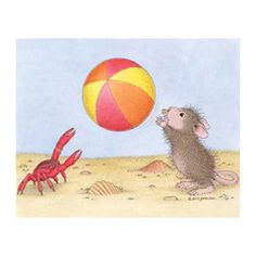 (^_^) Crabby playing beach ball.  Image #e2014-8 - The Official House-Mouse Designs® Web Site, www.house-mouse.com, Ecards, Scrapbooking, Rubber Stamps, HappyHoppers®