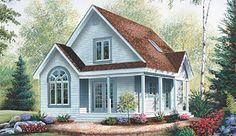 Hermoso plano de casa de dos pisos con 108 m2