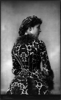 British actress Lillie (or Lily) Langtry, half length portrait, standing, right profile; in matching turban and dress. Photograph by Napoleon Sarony, New York, copyrighted 1882. @designerwallace