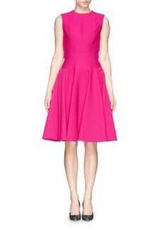 Lovely colour :~ Peplum back floral brocade dress #dress #women #covetme #alexandermcqueen