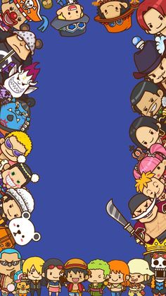 One piece wallpaper.. I edited it on photoshop but I couldn't find the original artist to give credit for those awesome chibi drawings