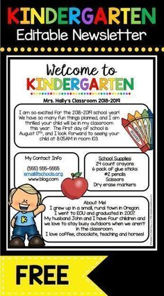 Back to School — Keeping My Kiddo Busy FREE Welcome to Kindergarten newsletter - EDIT and print to send during Back to School season or Open House - adorable Meet the Teacher letter FREEBIE Kindergarten First Week, Kindergarten Newsletter, Welcome To Kindergarten, Welcome To School, Kindergarten Lesson Plans, Teaching Kindergarten, Preschool Classroom, Class Newsletter, Future Classroom
