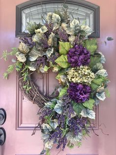 Hydrangea Wreath, Summer Wreath, Spring Wreath, Purple Wreath, Front Door Wreath - New Deko Sites Wreath Crafts, Diy Wreath, Grapevine Wreath, Wreath Ideas, Burlap Wreaths, Summer Door Wreaths, Holiday Wreaths, Christmas Decorations, Winter Wreaths