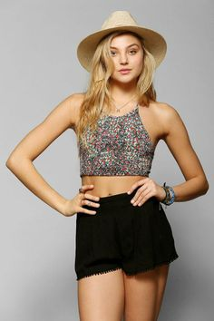 Pins And Needles Smocked Cropped Halter Top #urbanoutfitters