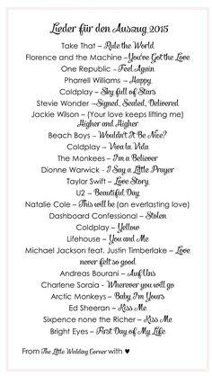 Die schönsten Lieder für den Auszug bei der Trauung 2015 | Hochzeitsblog - The Little Wedding Corner