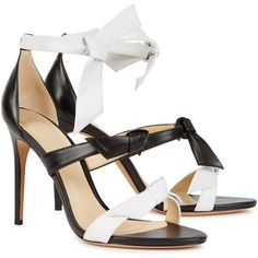 Alexandre Birman Lolita monochrome leather sandals ($515) ❤ liked on Polyvore featuring shoes, sandals, high heel shoes, black and white leather shoes, open toe high heel sandals, tie shoes and open toe shoes