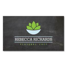 Healthy Salad Vegetables Catering Logo Chalkboard Business Cards