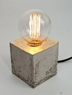 Nachttischlampen - LJ Lamp α - vergoldete Design Leuchte aus Beton - ein Designerstück von LJ-Lamps bei DaWanda