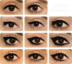 Eyeliner Designs Eyeliner ideas - see how each changes the shape of the eye? Important stuff!Eyeliner ideas - see how each changes the shape of the eye? Important stuff! Eyeliner Designs, Eyeliner Hacks, Eyeliner Ideas, Apply Eyeliner, Black Eyeliner, Winged Eyeliner, Top Eyeliner, Purple Eyeliner, Eyeliner Makeup