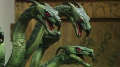 """Here's a great close-up shot of the 7 headed HYDRA that was protecting the Golden Fleece in 1963's """" JASON AND THE ARGONAUTS """" I can't imagine the task of animating this model with seven individual serpent heads all moving simultaneously and making it look believable to the audience. But once again Ray pulled it off, making him without a doubt """" THE GODFATHER OF SPECIAL EFFECTS."""""""