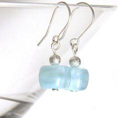 Light Blue Lampwork Glass Earrings Sterling Silver by KapKaDesign, $17.00