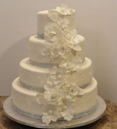 Love the bling on this cake, but with orchids cascading instead?