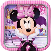 """Minnie Mouse Bow-Tique 7"""" Square Plates, 8 Count, Party Supplies"""