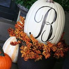 Love painted, monogrammed pumpkin