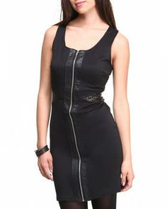 Vegan Leather Front Cut Out Sides Zip Front Sheath by ROMEO & JULIET COUTURE @ DrJays.com