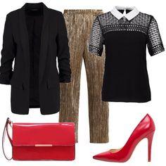 Per un sabato sera chic propongo una giacca nera lunga, una maglia a maniche corte nera con colletto bianco, un pantalone largo color oro, décolleté rosso con pochette rossa abbinata.
