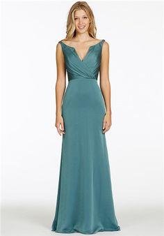 Jasper luminescent chiffon A-line bridesmaid gown, draped V-notch neckline, natural waist.