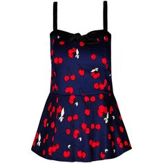 City Chic Cherry Pie Corset ($35) ❤ liked on Polyvore featuring tops, blue corset, cherry print top, corsette tops, corset tops and shirred top