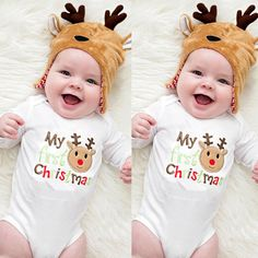 US $3.98 - 4.34 Newborn Baby Boy Girl Clothes Christmas Infant Deer Print Cotton Long Sleeve Baby Romper Xmas New Years Baby Clothing 2017 aliexpress.com
