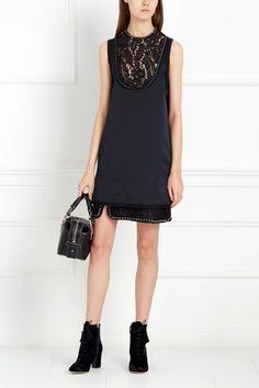 Платье-мини с кружевом No.21 - Платье-мини сделано из атласной ткани благородного графитового цвета в интернет-магазине модной дизайнерской и брендовой одежды