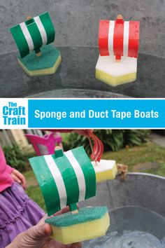 Sponge boats DIY toy for kids Make a fun sponge and duct tape boat. This is a great craft for Summer or bath time, and the duct tape sails work better than paper since they are waterproof. Also a great STEM or STEAM craft. Summer Camps For Kids, Summer Activities For Kids, Summer Kids, Craft Activities, Preschool Crafts, Diy For Kids, Crafts For Kids, Diy Crafts, Boat Crafts
