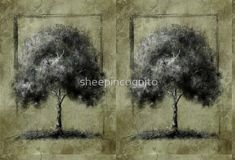 Contemporary Tree Drawing - Green