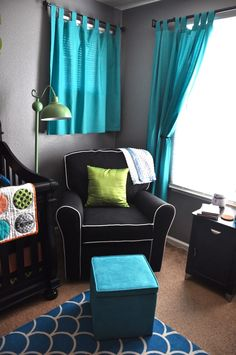 Hailey's room colors without the green. Grey, black, white & blue
