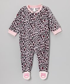 Take a look at this Pink Leopard Microfleece Footie - Infant & Toddler on zulily today!