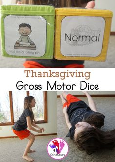 Free Thanksgiving Gross Motor Dice - to get kids moving and have fun with easy gross motor movements - 3Dinosaurs.com #freeprintable #grossmotor #grossmotordice Gross Motor Activities, Preschool Learning Activities, Summer Activities, Thanksgiving Activities For Kids, Kids Moves, Two Year Olds, Early Learning, Fine Motor Skills, Dice