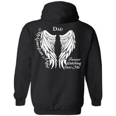 My Guardian Angel Dad Forever Watching Over Me T-Shirts, Hoodies, Long Sleeve and Womens Tee  Guardian Angel Wings T-Shirt in loving memory of your Dad.   *****Please see photos for color options and size charts****   To order: 1. Choose your Style and Size 2. Choose your Color   Vist our shop for this design on Coffee Mugs and Necklaces https://www.etsy.com/shop/CaliKays  -----------------------------------------------------------------  Shipping Information - 4-7 Days Pr...
