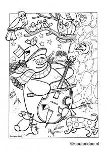 Kleurplaat Sneeuwpop In De Winter Kleuterideenl Snowman The 4 Preschool