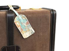 3 Personalized Vintage Map Fabric Luggage Tags Groomsmen Gifts, Travel Suitcase Tag, Destination Wedding Gifts, Journey Men Accessories. $45.00, via Etsy.