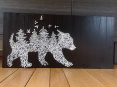 Karen Van Peteghem || String art  | Bear in woods