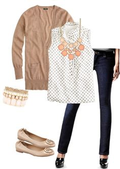 """""""ootd - polka dots, cardigan and flats (airport travel)"""" by wrymommy ❤ liked on Polyvore"""
