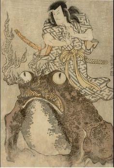 Utagawa Toyokuni - Actor Onoe Eizaburo I As A Magician With A Giant Toad  1809