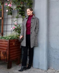 Turtleneck top, coat, pants and booties | shared by Dawn Lucy | For more style inspiration visit 40plusstyle.com