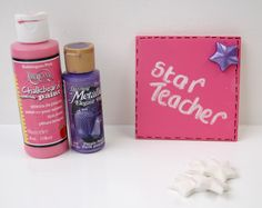 Our square bisque pottery tile has been personalised for a star teacher using pink chalkboard paint.