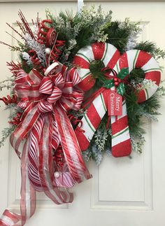 Christmas Candycane Pine Wreath by WilliamsFloral on Etsy
