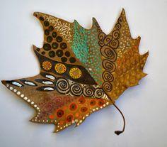 Buntpapier, paste paper, autumn, Herbst Blätter, leaves, colored, feltpen, Filzstift, Grafik, painted leaves, colored leaves