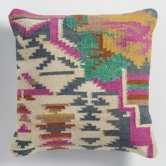 Silk and Wool Kilim Throw Pillow - v1