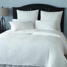 Avery Pick-Stitch Bedding & Quilt - White